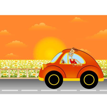coche de dibujos animados sobre un paisaje de verano de fondo