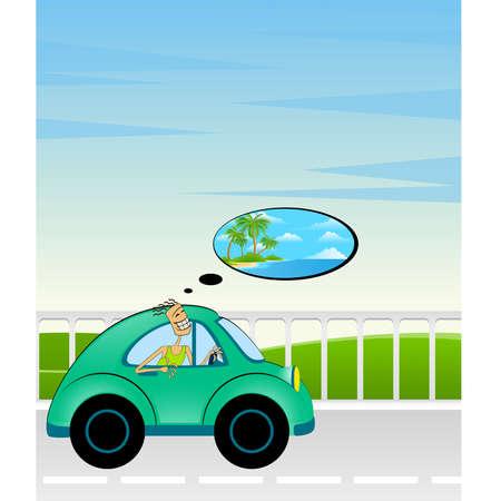 cartoon car on a background summer landscape Vector