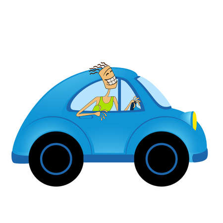 cartoon car on white background and men Vector