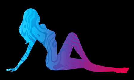 sexy women: Grunge banner with silhouette of girl and blots.