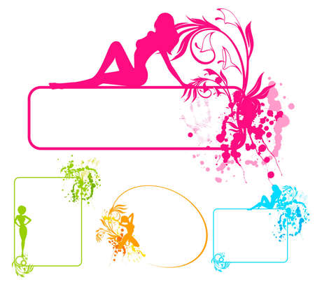 Grunge banner with silhouette of girl and blots. photo