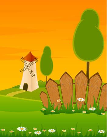 landscape windmill building Stock Photo - 7414792