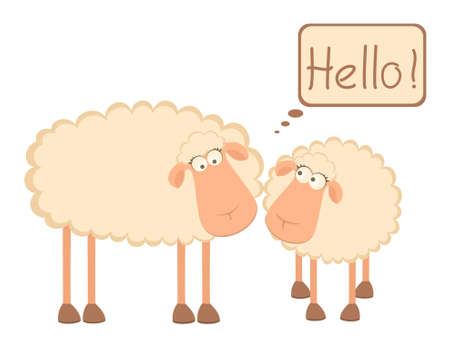 two cartoon smiling sheep photo