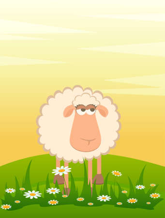 cartoon smiling sheep photo