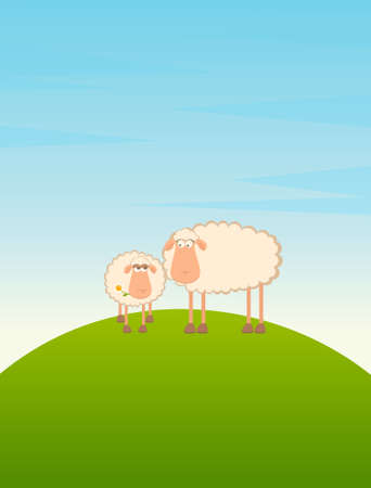 two cartoon smiling sheep in love photo