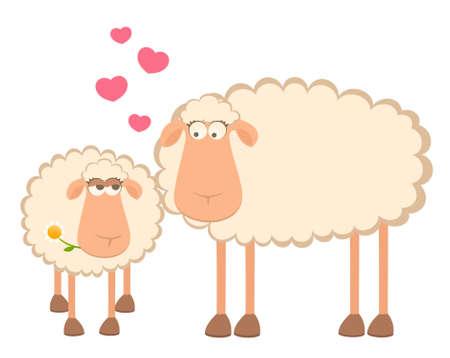 sheep love: two cartoon smiling sheep in love
