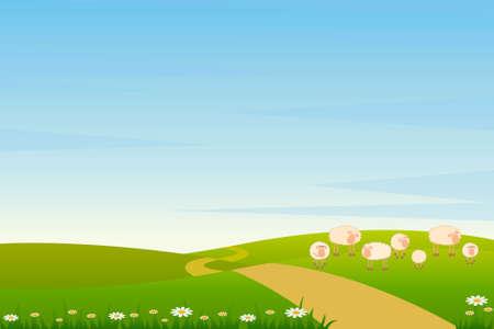 background with cartoon sheep Stock Photo - 7414741
