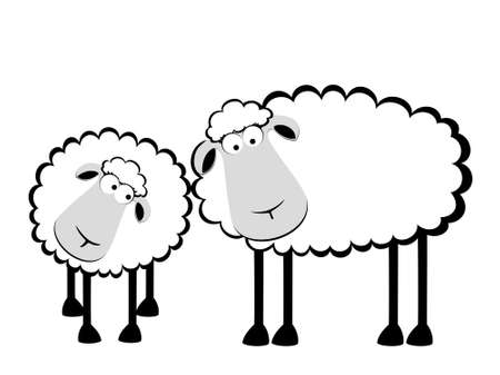 cartoon sheep: two cartoon smiling sheep