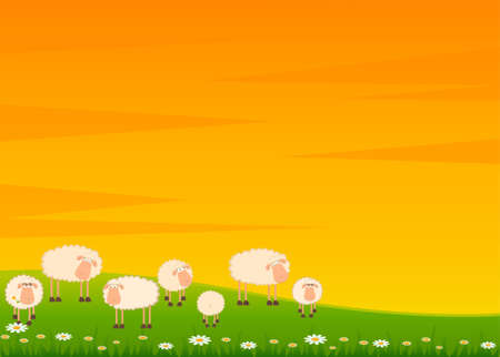 sheep clipart: background with cartoon smiling sheep Stock Photo