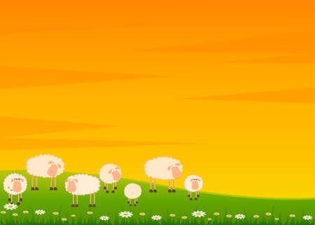 granja caricatura: Fondo con dibujos animados sonriendo ovejas