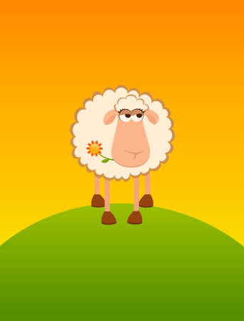 background with cartoon smiling sheep Stock Photo - 7414734