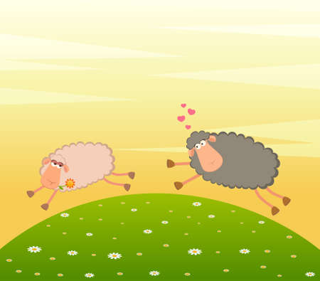 cartoon in love sheep pursues after other photo