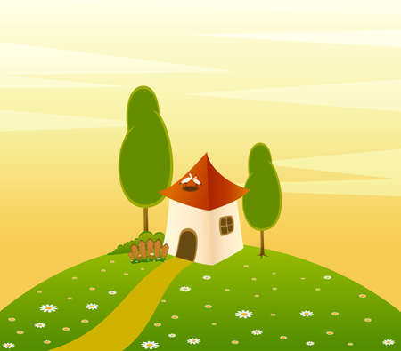 landscape background with house and trees photo