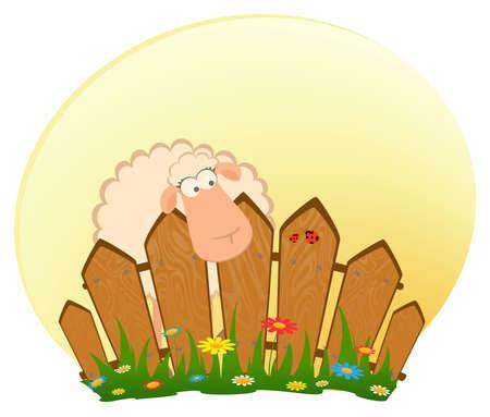sweet grass:  cartoon smiling sheep after a fence