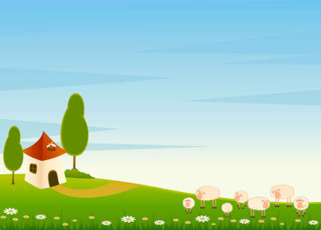 landscape background with house and cartoon sheep