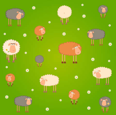 lamb cartoon: landscape background with cartoon sheep