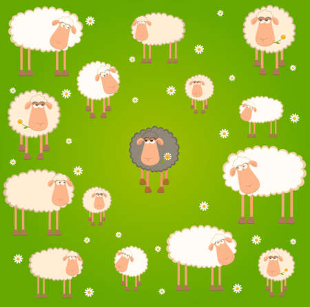landscape background with cartoon sheep Stock Photo - 7414799