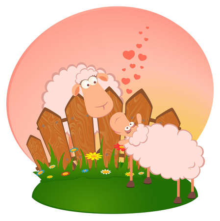 illustration of two cartoon smiling sheep in love Stock Photo