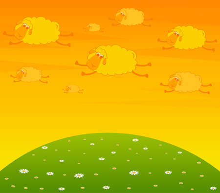 illustration of cartoon clouds fly as smiling sheep Stock Illustration - 7466784
