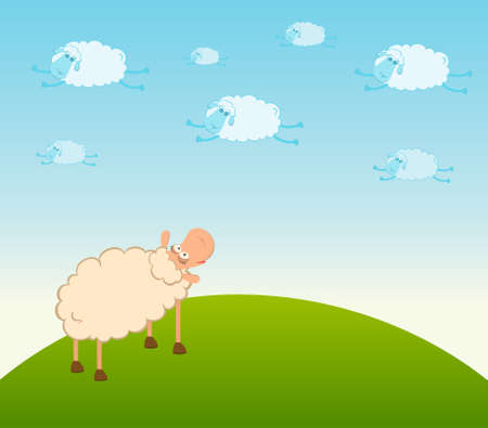 cartoon clouds fly as smiling sheep Stock Photo - 7466785