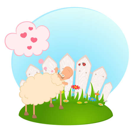illustration of cartoon smiling sheep in love illustration