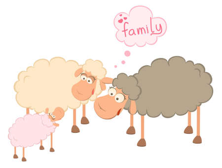family of cartoon sheep  Stock Photo - 7466787