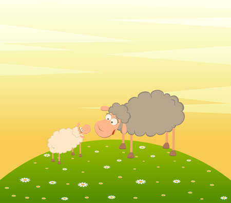 illustration of two cartoon smiling sheep in love Stock Illustration - 7466781
