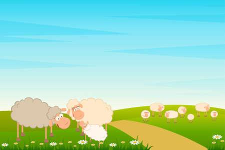 family of cartoon sheep  photo