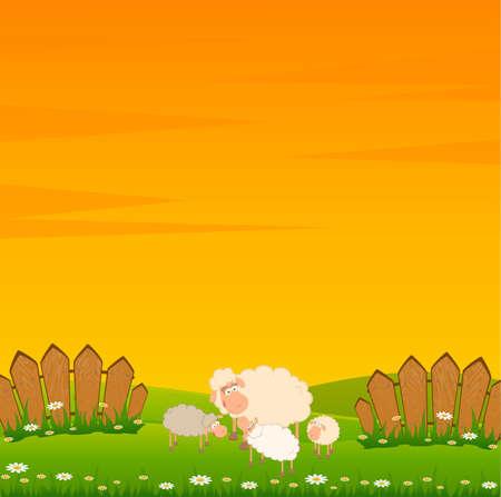 granja caricatura: familia de ovejas de dibujos animados