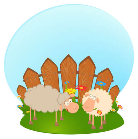 illustration of two cartoon smiling sheep in love Stock Illustration - 7466799