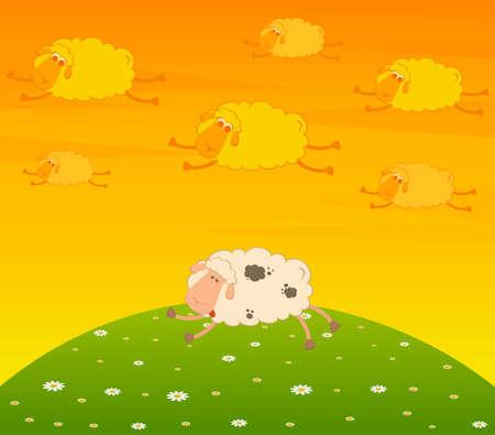 cartoon flying sheep dream Stock Photo - 7466796