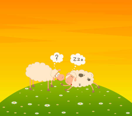 cartoon sheep: cartoon sheep sleeps on a grass Stock Photo