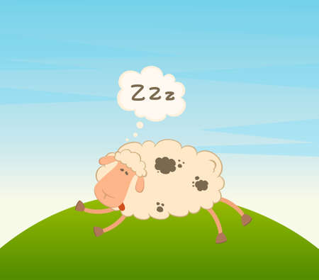 cartoon sheep sleeps on a grass Stock Photo - 7534378