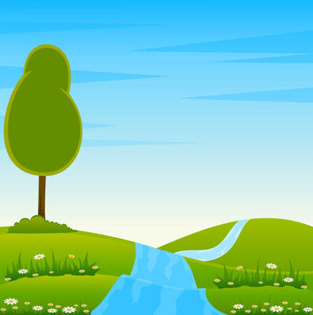 Country Landscape with trees and river Stock Photo - 7530192