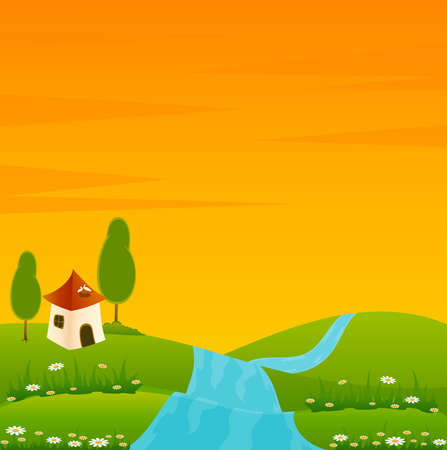 Country Landscape with river with house and trees photo