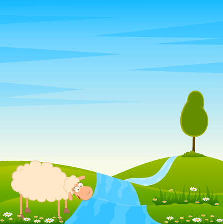 Landscape background with cartoon smiling sheep Stock Photo - 7522485