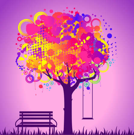 abstract colorful tree. Nature decoration. Stock Photo - 7520681
