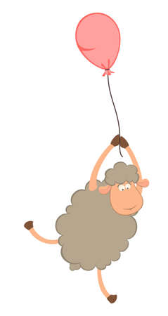 cartoon sheep flies on a balloon
