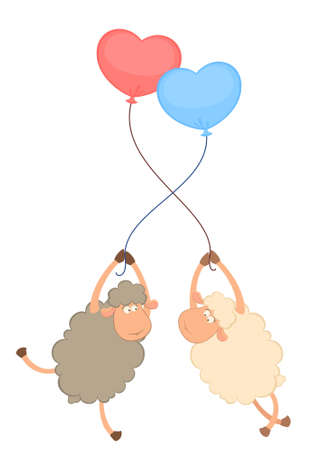 sheep love:  cartoon sheeps flies on a balloon