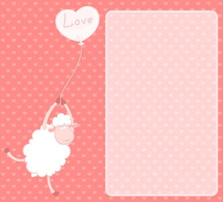 cartoon sheep flies on a balloon Stock Photo - 7520175
