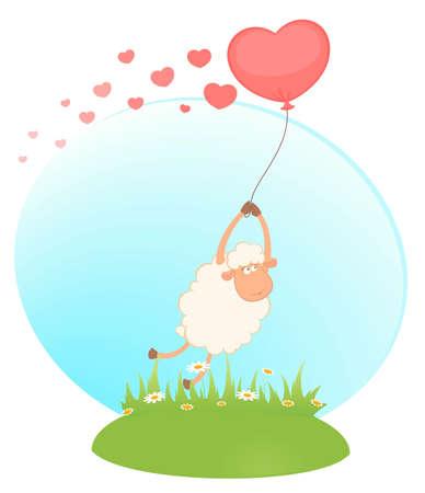 cartoon sheep flies on a balloon photo