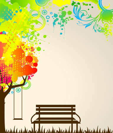 abstract colorful tree with bench and swing.