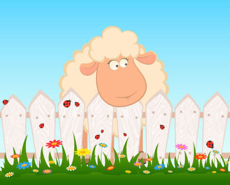 Cartoon smiling sheep after a fence Stock Photo - 7520687