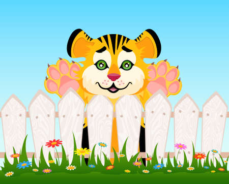 Cartoon smiling tiger after a fence photo