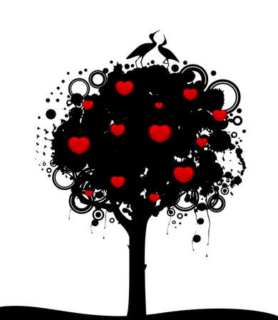 tree with red hearts. Nature decoration. photo