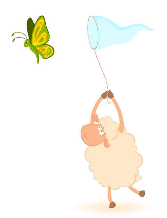 cartoon funny sheep catches beautiful butterflies photo