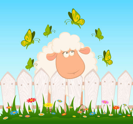 cartoon smiling sheep with butterfly after a fence photo