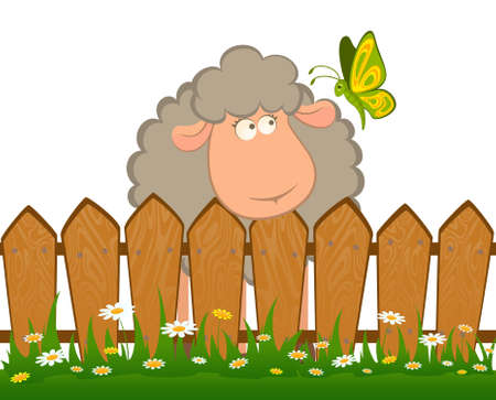 cartoon smiling sheep with butterfly after a fence Stock Photo - 7555525