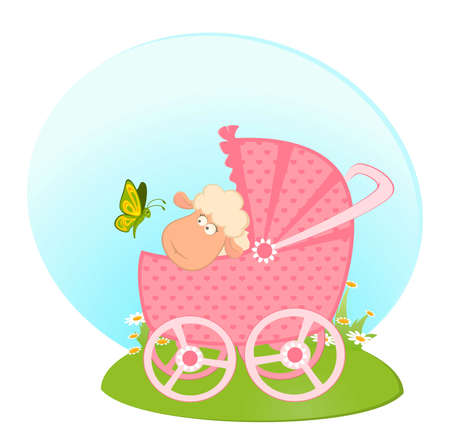 Cartoon smiling sheep with scribble baby carriage photo