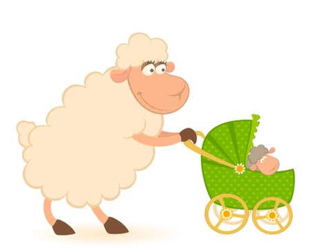 Cartoon lachende schapen met scribble kinder wagen